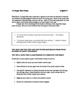 Pride And Prejudice Critical Essay  Angry Men Essay Expository Essay Topics also Experience In College Essay  Angry Men Essay By Christopher Rogers  Teachers Pay Teachers Cause And Effect Of The Great Depression Essay