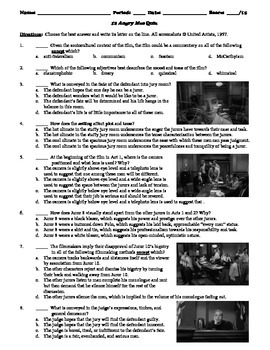 12 Angry Men Film (1957) 15-Question Multiple Choice Quiz