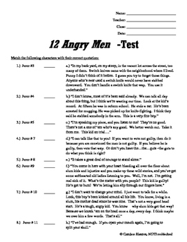 12 Angry Men (Jurors) Writing Prompts + Comprehension Test & Answer Key (bundle)