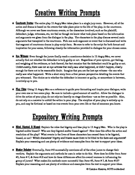 12 Angry Men (Jurors) Comprehension Test, Answer Key + writing prompts (bundle)