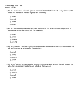 12 Angry Men Multiple Choice Test