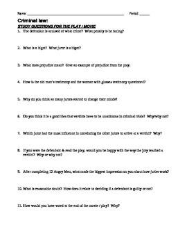 12 Angry Men Packet worksheet