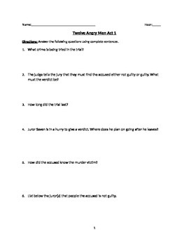 12 Angry Men reading questions with Answer Key