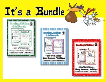 12 Animal / Creature Reading & Writing One Work Sheet Bundle ~ Holidays 240+ pgs