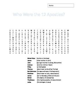 12 Apostles Word Search