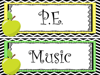 12 Apple themed Printable Classroom Subject Signs. Class Accessories.