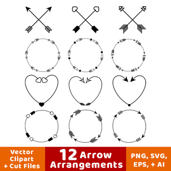 12 Arrows Clipart- Arrow Wreath Clip Art, Arrow Heart Clipart, Crossed Arrows
