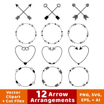 12 Arrows Clipart- Arrow Wreath Clip Art, Arrow Heart Clipart, Crossed Arrows