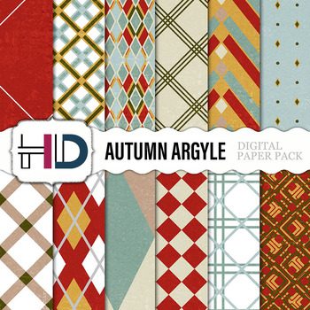 12 Autumn Argyle Digital Background Papers in brown, red, blue, and green