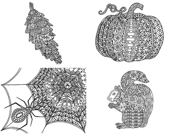 12 Autumn and Fall Zentangle Coloring Pages