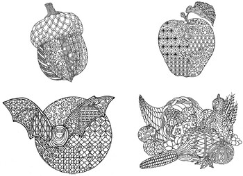 12 Autumn and Fall Zentangle Coloring Pages by Pamela Kennedy | TpT