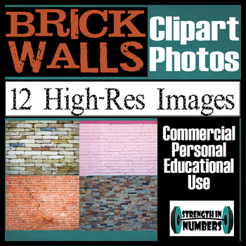 12 BRICK WALL Photos Clipart High Resolution Commercial Photographs