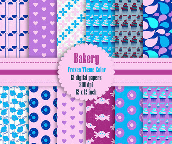 12 Bakery Digital Papers in Frozen Theme Color