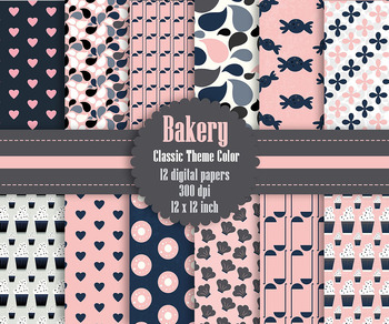 12 Bakery Digital Papers in Indigo and Blush Pink Color