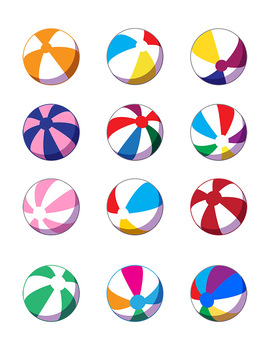 12 Beach Balls Clip Art | Summer Graphics | PNG, AI, EPS
