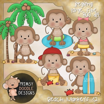 12- Beach Monkeys 300 dpi Clipart