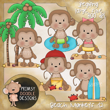 12- Beach Monkeys 300 dpi Clipart