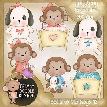 12-Bedtime Monkeys 300 dpi Clipart