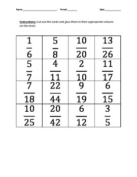1/2 Benchmark Fraction Card Sort