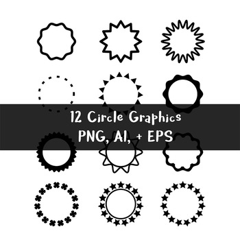 12 Black Circle Graphics | Frames, Borders | Clipart | PNG, AI, EPS
