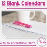12 Blank Calendars for All Year
