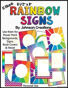 12 Blank Rainbow Signs