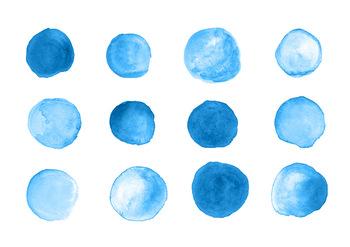 12 Blue Watercolor Circles Clipart, Hand Painted Dots, Spots, Shapes, PNG