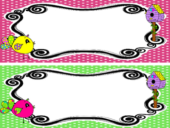 10 Bright Birdies themed Printable Name Plates. Class Accessories.