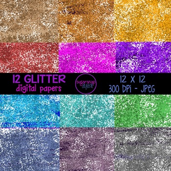 12 Bright Glitter Papers  Background Digital Scrapbooking