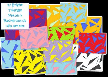 12 Bright triangle patterned backgrounds clip art set
