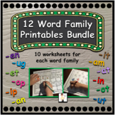 12 CVC Word Family Printable Worksheets BUNDLE