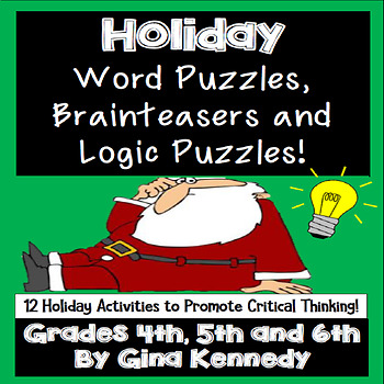 Christmas Logic Puzzles, Word Puzzles, Brain Teasers and