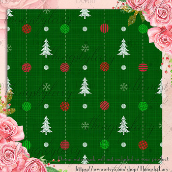 12 Christmas Digital Papers in Classic Theme Color