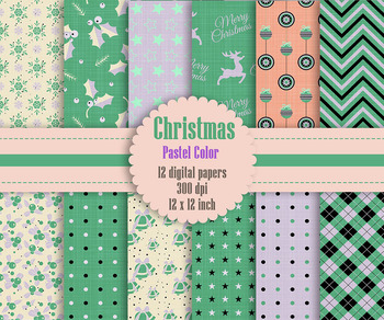 12 Christmas Digital Papers in Pastel Color