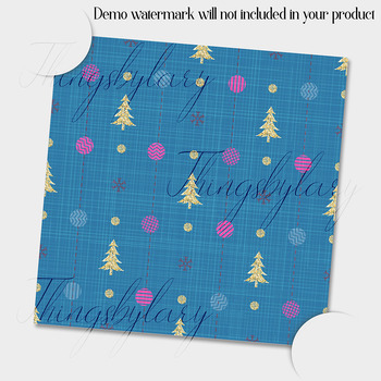 12 Christmas Digital Papers in Pink Blue and Yellow Color
