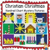 Christian Christmas Hundred Chart Mystery Pictures w/ Bible Clues & Number Cards