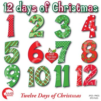 Christmas Clipart, 12 Days of Christmas Numbers, {Best Teacher Tools}, AMB-354