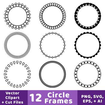 12 Circle Frames Clipart, Decorative Borders, Frame, Label, Monogram ...