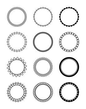 12 Circle Frames Clipart Decorative Borders Frame Label Monogram