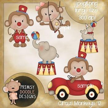 12-Circus Monkeys 300 dpi Clipart