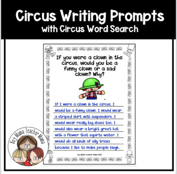 12 Circus Writing Prompts and Story Writing Papers