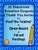 12 Classroom Donation Coupons and Coordinating Thank You Notes