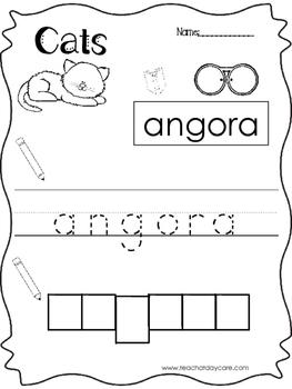 12 Color, Read, Trace, and Box Write Cats Worksheets. Preschool-KD