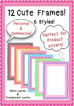 12 Colored Frames **Great for product covers!**