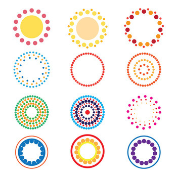 On SALE!- 12 Colorful Dotted Halftone Circle Graphics | Geometric | PNG, AI, EPS