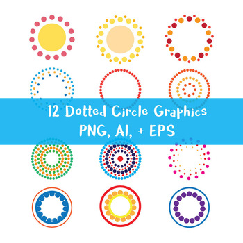 12 Colorful Dotted Halftone Circle Graphics | Geometric | PNG, AI, EPS