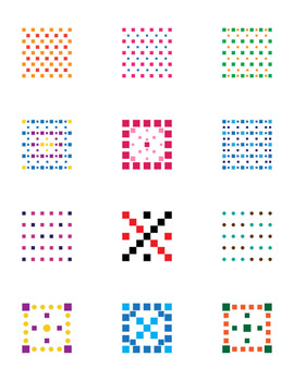 12 Colorful Dotted Halftone Square Graphics | Geometric Clip Art | PNG, AI, EPS