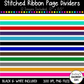 12 Colorful Stitched Ribbon Borders - Commercial and Personal Use