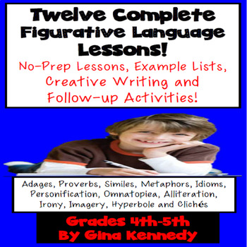 Figurative Language BUNDLE, 12 Lessons with Activities, Examples ...