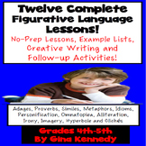Figurative Language BUNDLE, 12 Lessons with Activities, Ex
